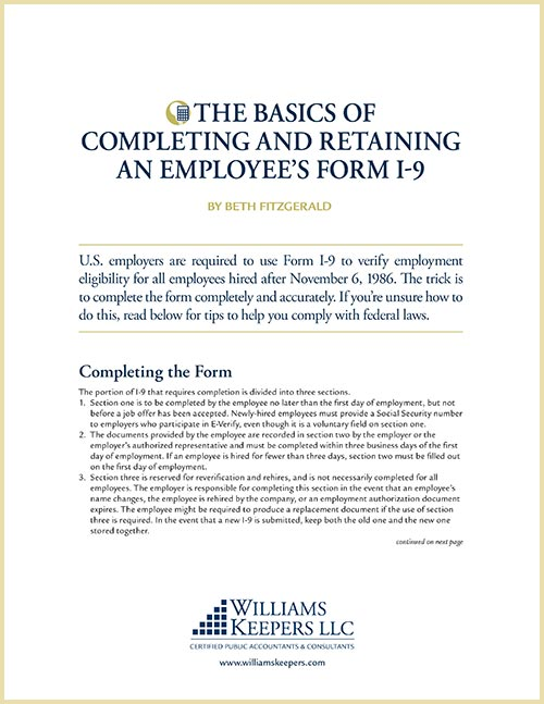 The basics of completing and retaining an employee's Form I-9
